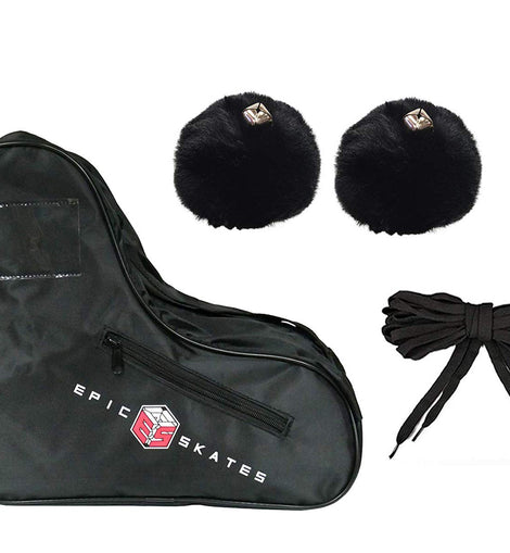 Epic Black Roller Skate Accessory 3 Pc. Bundle w/Bag, Laces, Pompoms