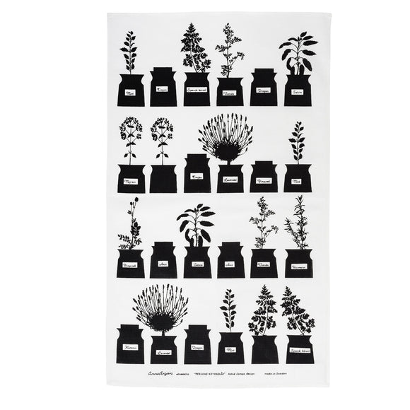Tea towel PERSONS KRYDDSKÅP black