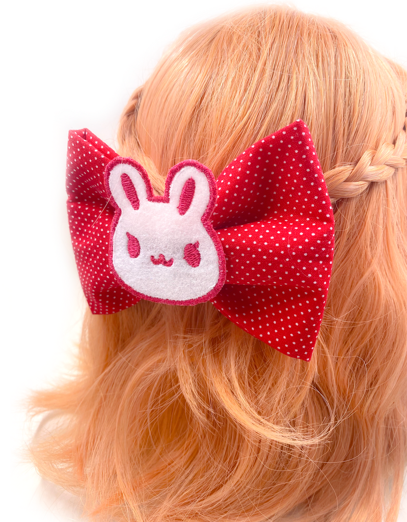 Bunny Dot Barrette (Red)