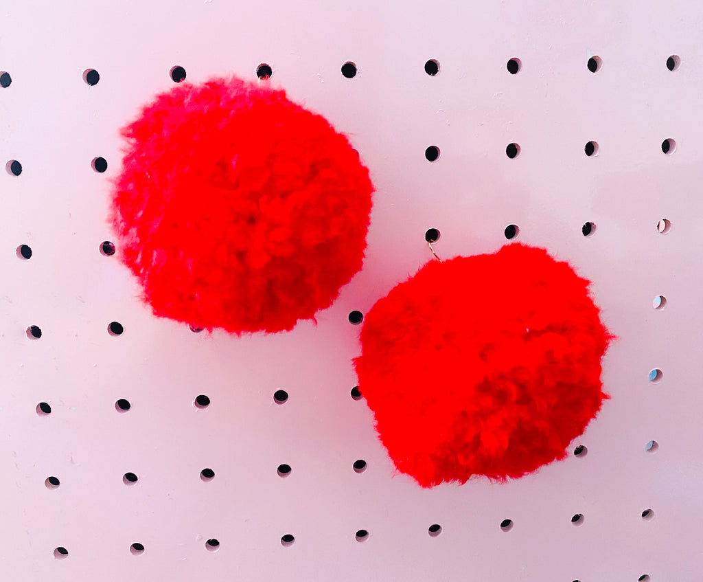 Pom Pom earrings- Cherry