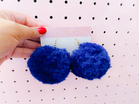 Pom Pom Earrings- Blueberry