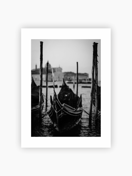 Boat At The Pier Black & White Poster