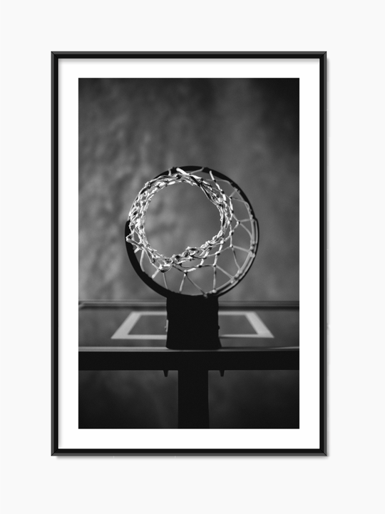 Black & White Basketball Hoop Poster