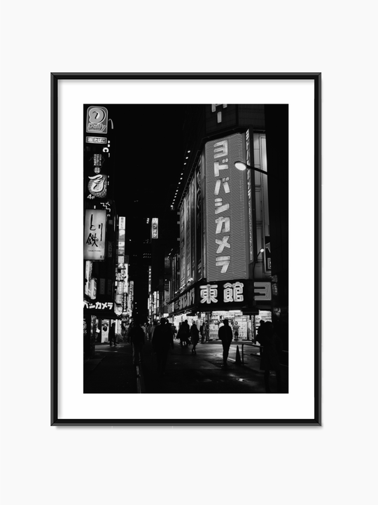 Black & White City At Night Poster