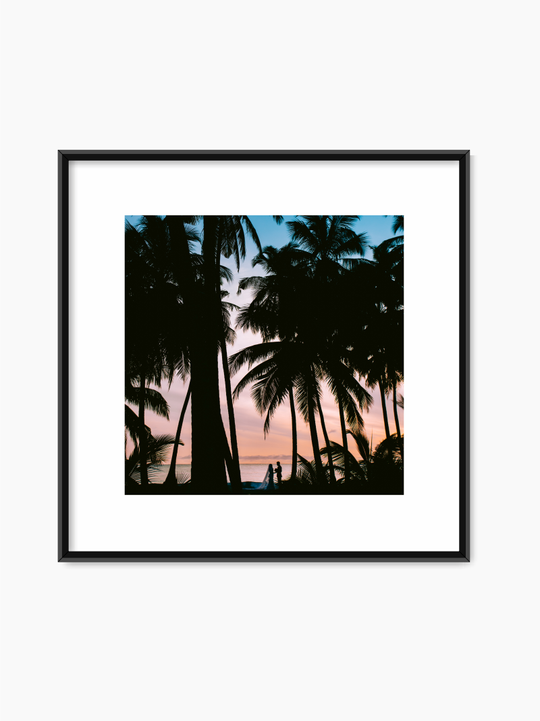 Couple Under Palm trees Poster