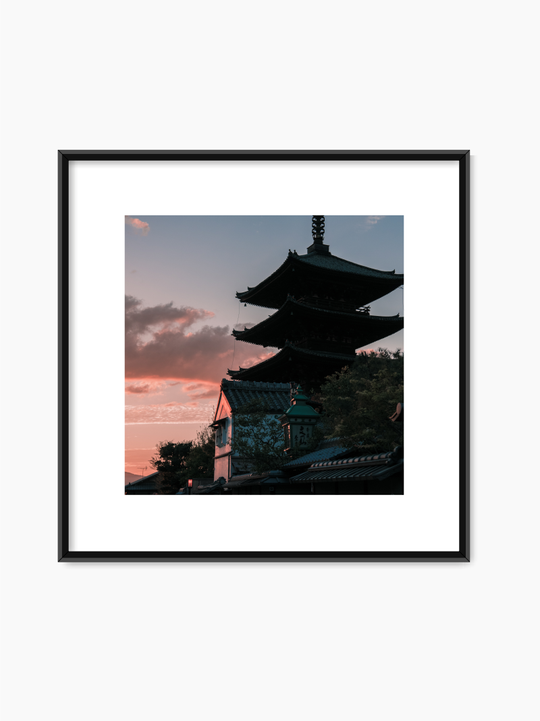 Asian Building At Sunset Poster