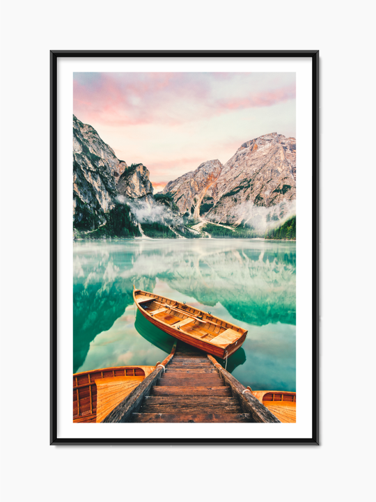 Boats On Lake Poster