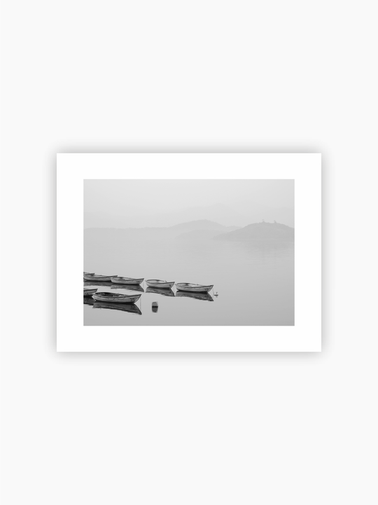 Boats In The Fog Poster