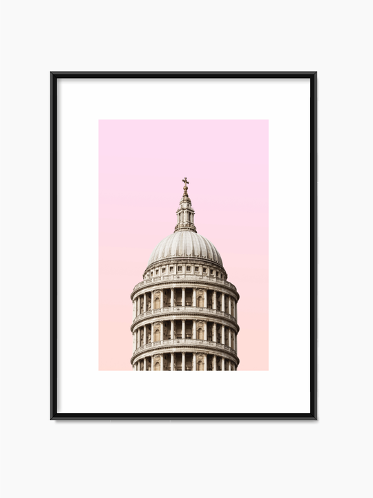 Tower Below Pink Sky Poster