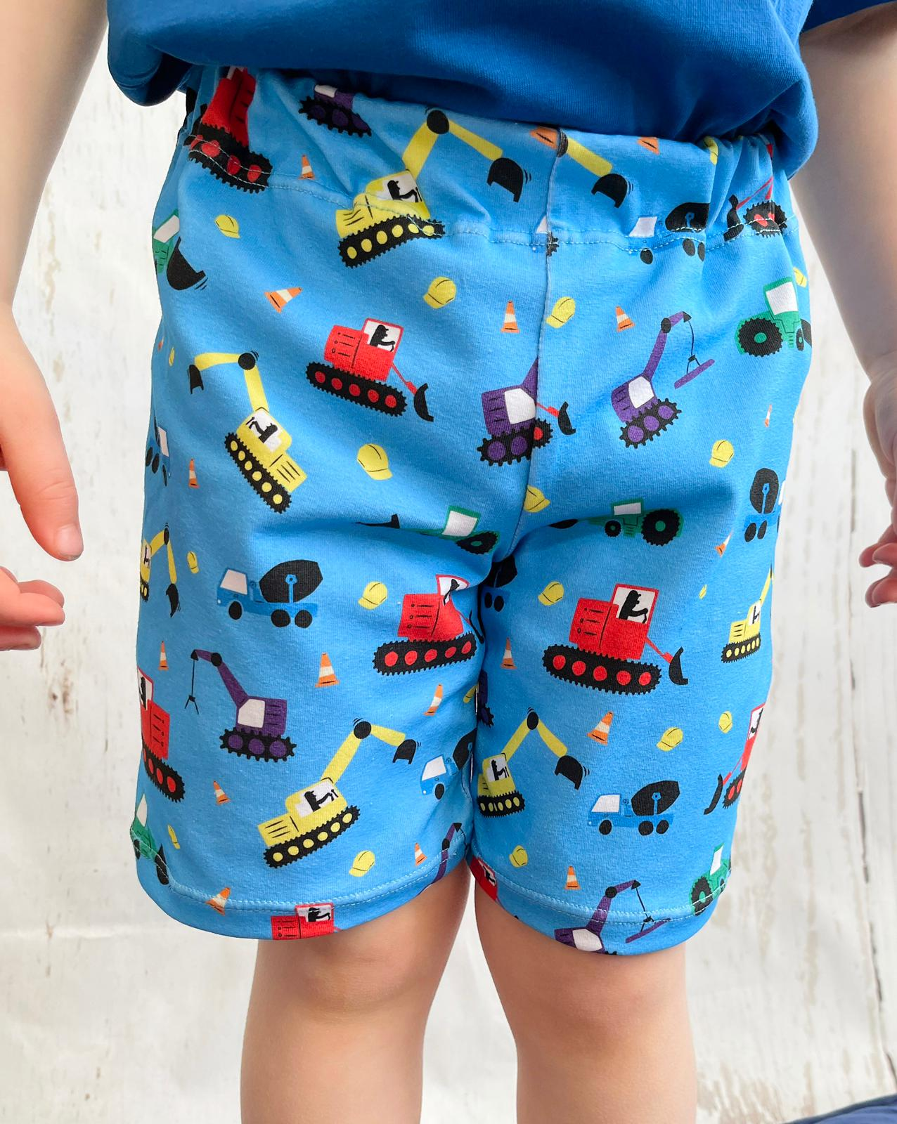 "Tiddler Shorts - ""Diggers & Lorries"" Hand Made in the UK!"