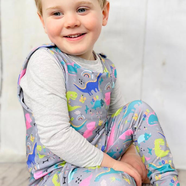 "Tiddler Romper - ""Dinky Dinos"" Hand Made in the UK!"