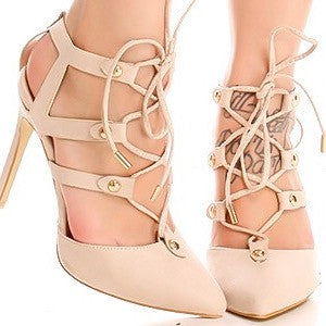 fd603c08bb9 Nude lace up pointed toe high heels