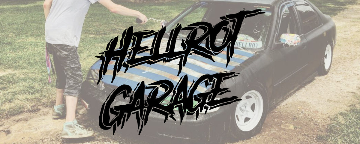 HELLROT GARAGE BANNER FOR APPAREL AND MERCH DRIVEN BY STRANGE PLANET