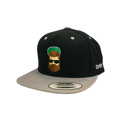 Drift Life Taylor Ray Snap Back embroidered with full color Drift Dad cartoon using green, grey, black, flesh-colored, and brown embroidery threads