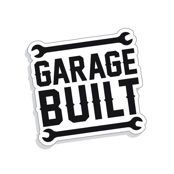 Taylor Ray's GARAGE BUILT design digitally printed to matte white sticker vinyl
