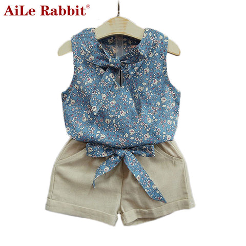 Baby Girl Clothes Summer: AiLe Rabbit Retail Fashion cartoon Suits Kids T Shirt +pants Set