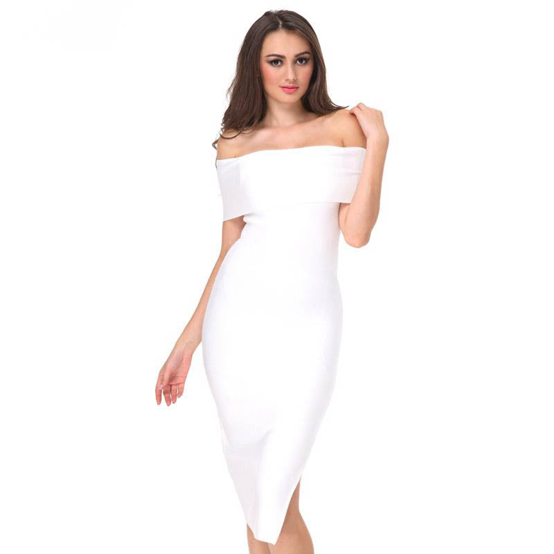 this model is wearing a white off the shoulder bandage evening dress