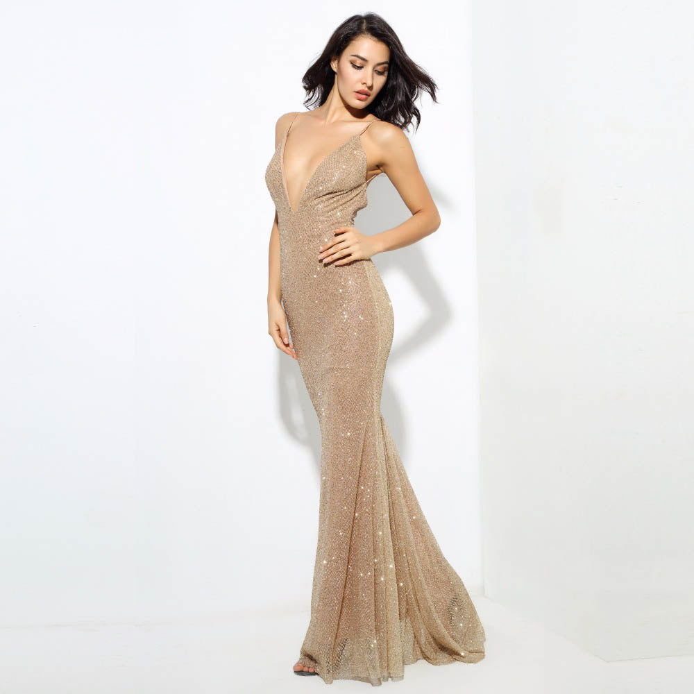 Sivney Gold Maxi Dress