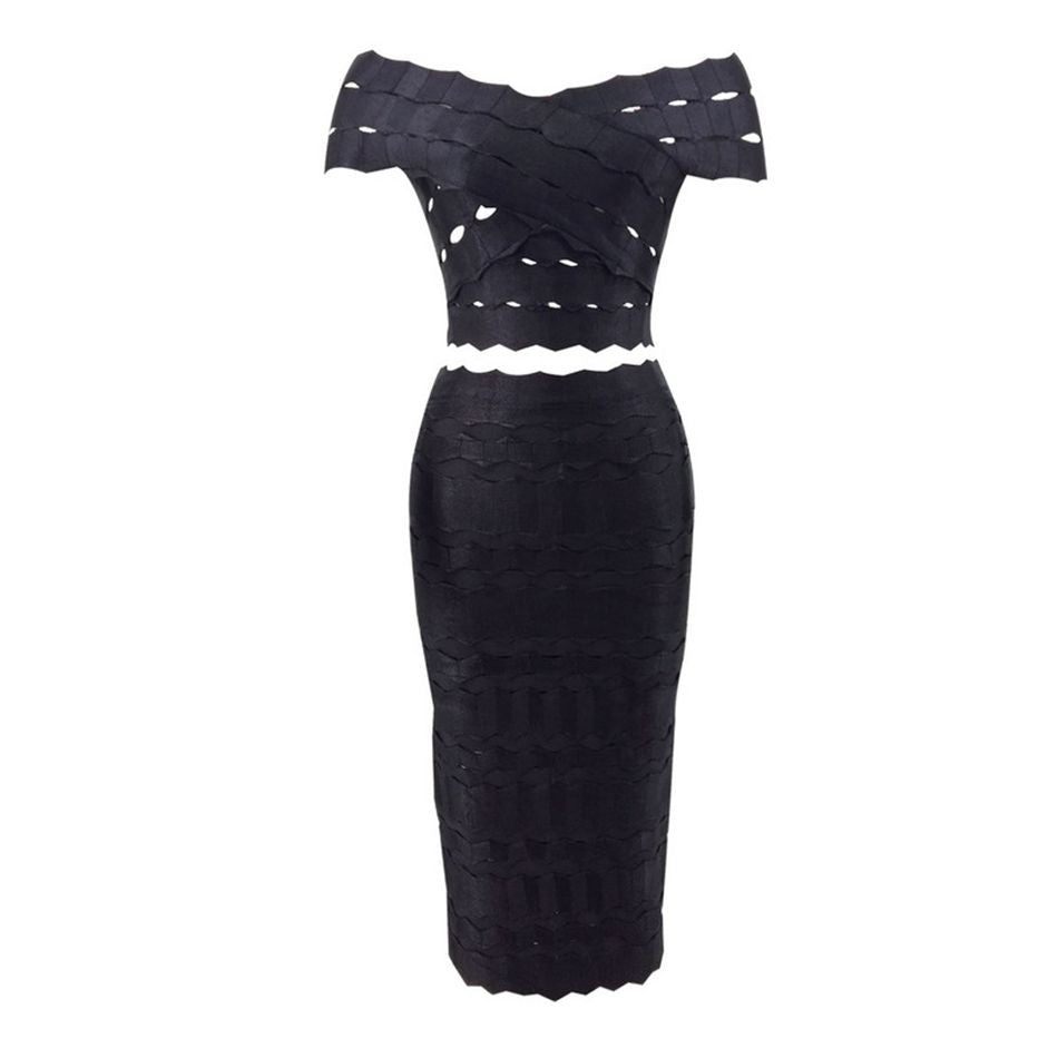 the belta off the shoulder bandage evening dress that comes in two pieces.