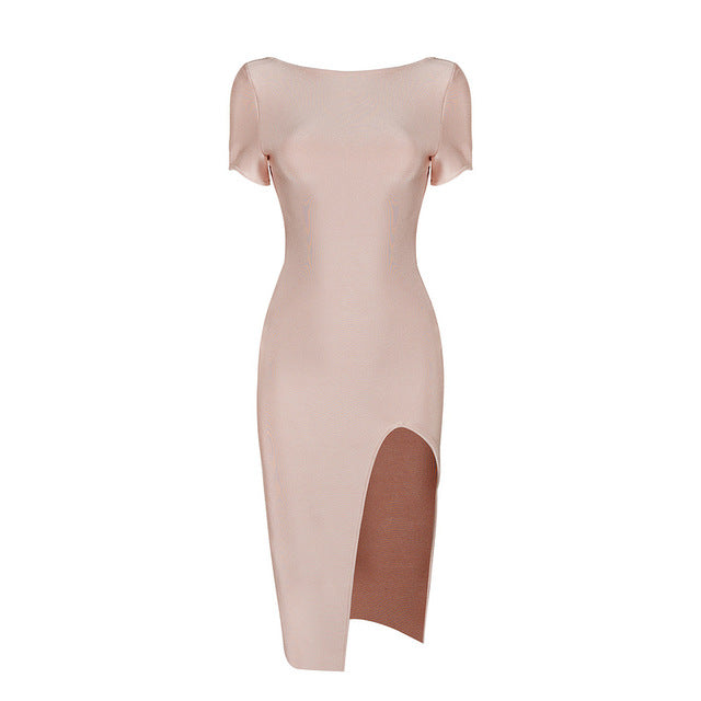 The front view of our cerise bandage dress in our collection of dresses