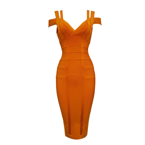 this is a orange bandage dress to be worn by ladies when going to parties