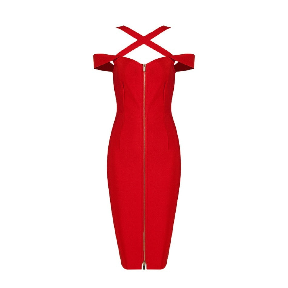this is a beautiful red bandage dress with a criss cross design at the top