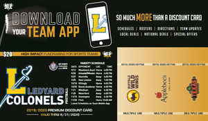 Ledyard Colonels Football Premium Discount Card 2019 - NFP Sports CT East