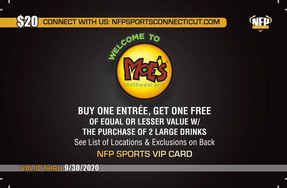 Putnam Criminal Justice 2020 Moe's Southwest Grill VIP Card - NFP Sports CT East