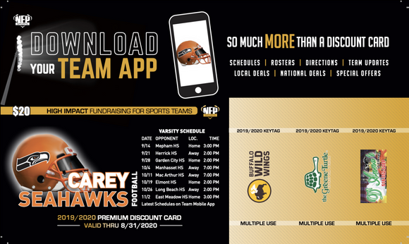 Carey Seahawks Football Premium Discount Card 2019