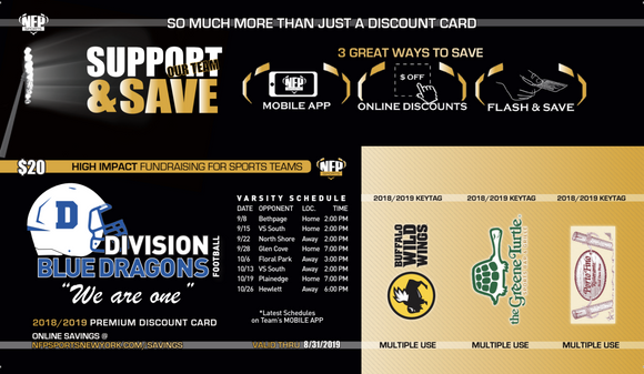 Division Blue Dragons Football Premium Discount Card 2019