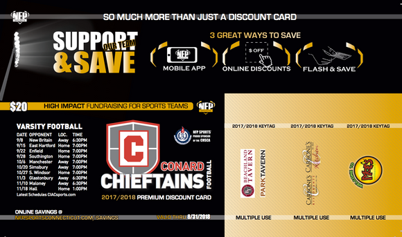 Conard Chieftains Football Premium Discount Card - NFP Sports CT East