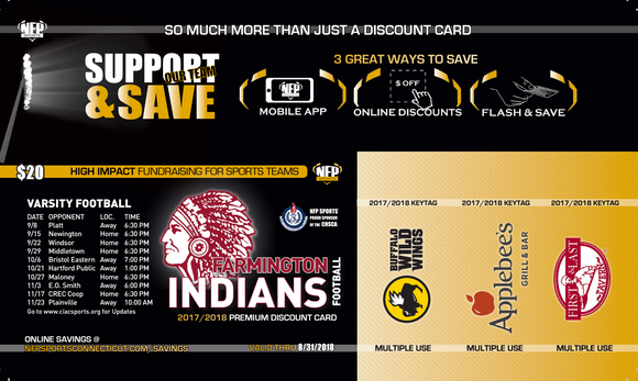 Farmington Indians Football Premium Discount Card - NFP Sports CT East