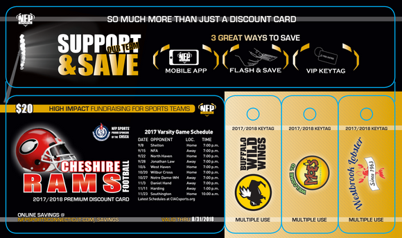 Cheshire Rams Football 2018 Premium Discount Card - NFP Sports CT East
