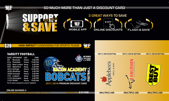 Bacon Academy Bobcats Football Premium Discount Card - NFP Sports CT East