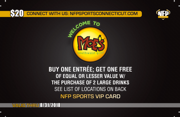 Fitch Falcons Boys' Soccer Moe's Southwest Grill VIP Card - NFP Sports CT East