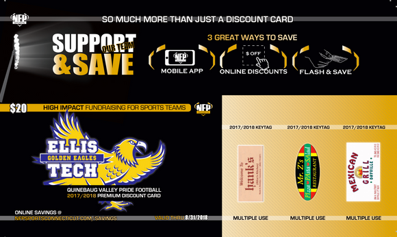 Ellis Tech/Quinebaug Valley Pride Football Premium Discount Card - NFP Sports CT East