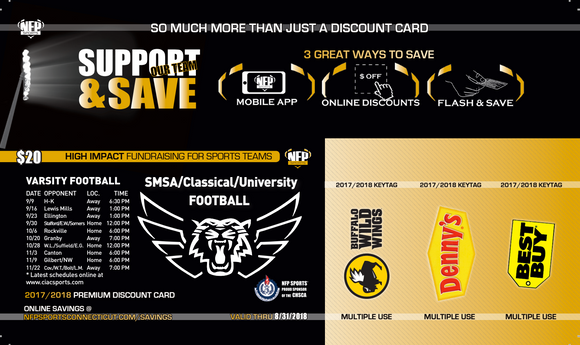 SMSA Tigers Football Premium Discount Card - NFP Sports CT East