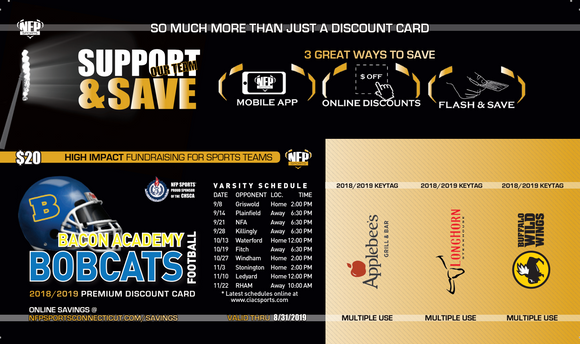 Bacon Academy Bobcats 2018 Football Premium Discount Card - NFP Sports CT East
