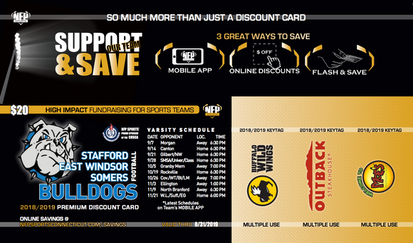 Bulldogs Football 2018 Premium Discount Card - NFP Sports CT East