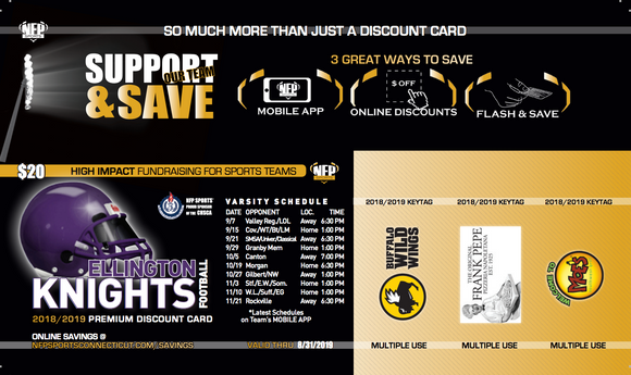 Ellington Knights 2018 Football Premium Discount Card - NFP Sports CT East
