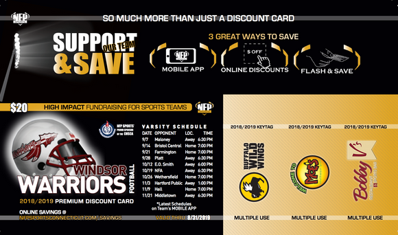 Windsor Warriors Football Premium Discount Card 2019 - NFP Sports CT East