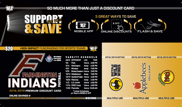 Farmington Indians 2018 Football Premium Discount Card - NFP Sports CT East