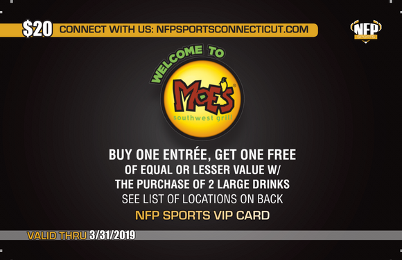Ledyard Youth Football & Cheer 2018 Moe's Southwest Grill VIP Card - NFP Sports CT East