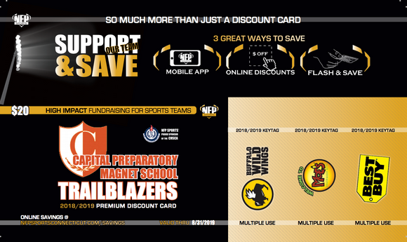 Capital Prep Trailblazers 2018 Football Premium Discount Card - NFP Sports CT East