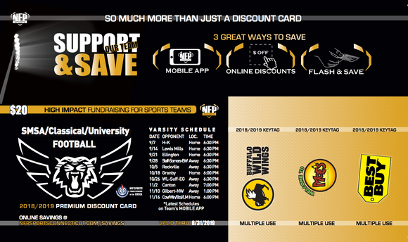 SMSA/Classical/University 2018 Football Premium Discount Card - NFP Sports CT East