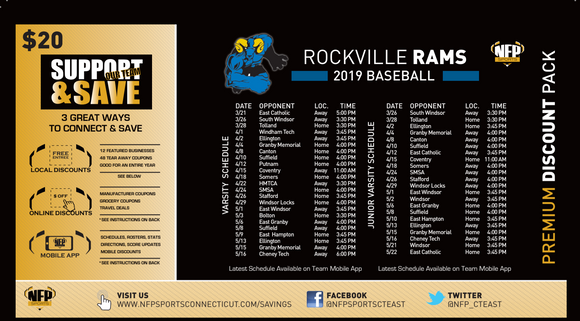 Rockville Rams Baseball Premium Discount Pack 2019 - NFP Sports CT East