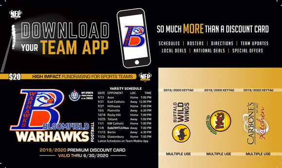 Bloomfield Warhawks Football Premium Discount Card - NFP Sports CT East