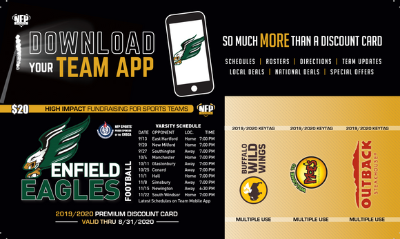 Enfield Eagles Football Premium Discount Card 2019 - NFP Sports CT East
