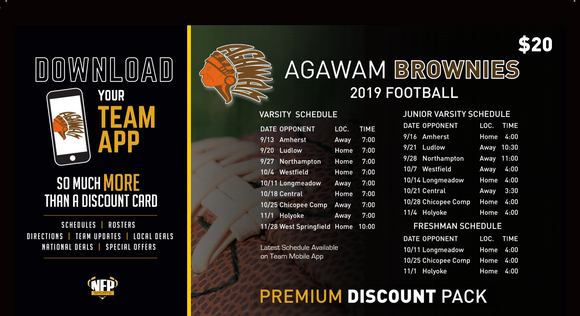 Agawam Brownies Football Premium Discount Pack 2019 - NFP Sports CT East
