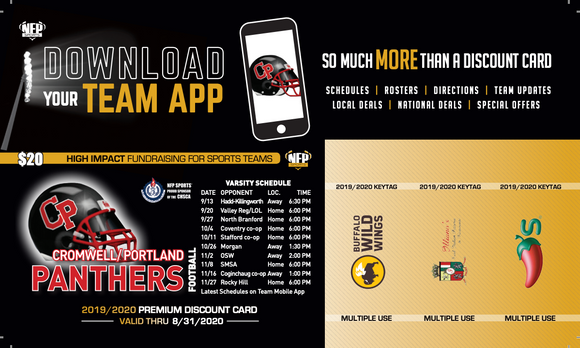 Cromwell-Portland Panthers Football Premium Discount Card 2019 - NFP Sports CT East